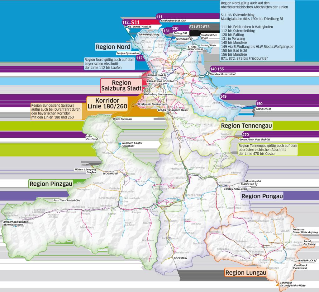 Karte mit den Regionen der myRegio Tickets