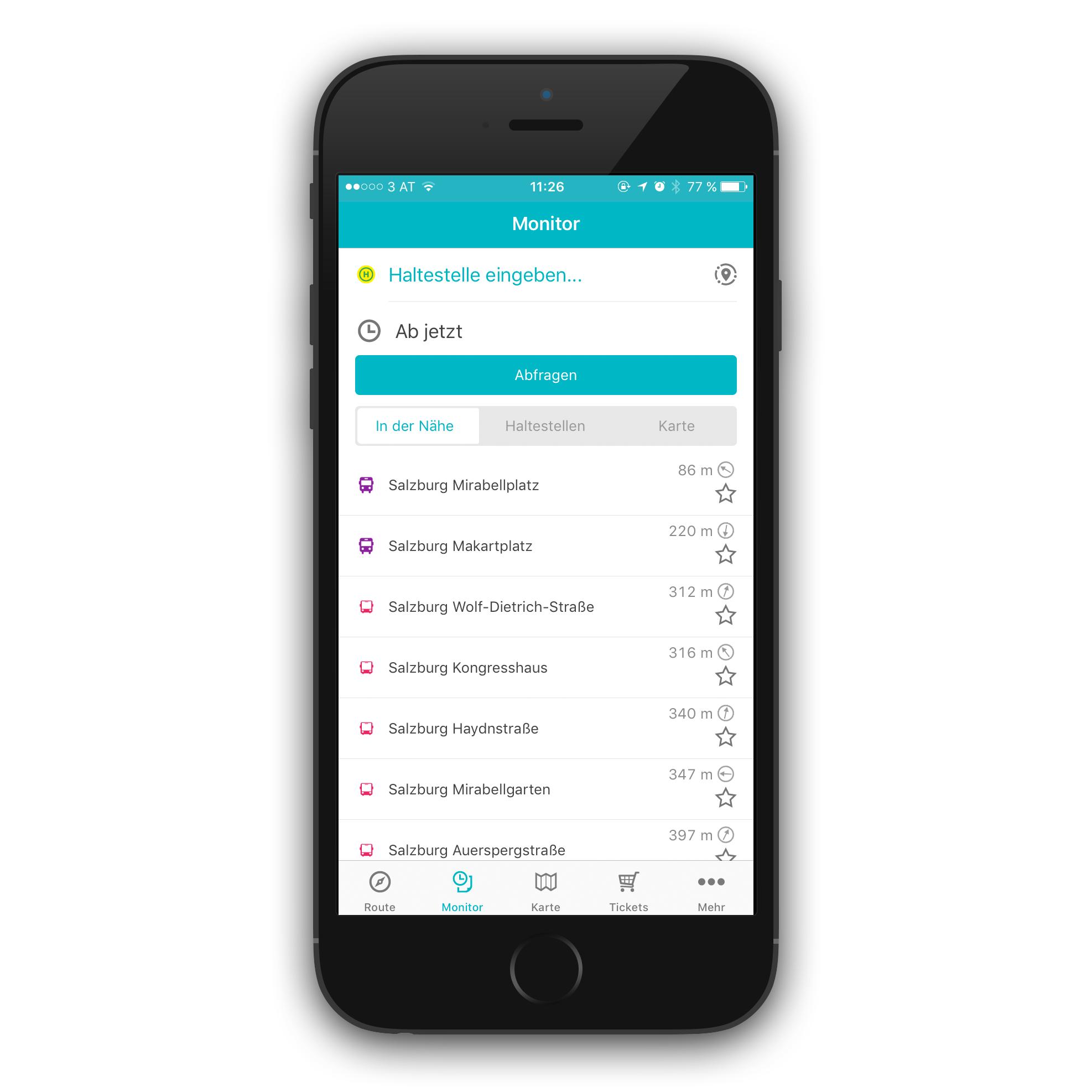 Screenshot Salzburg Verkehr App: Ansicht Haltestellenmonitor