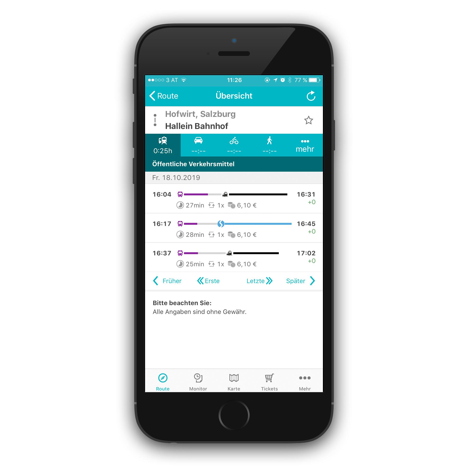 Screenshot Salzburg Verkehr App: Ansicht Routenübersicht