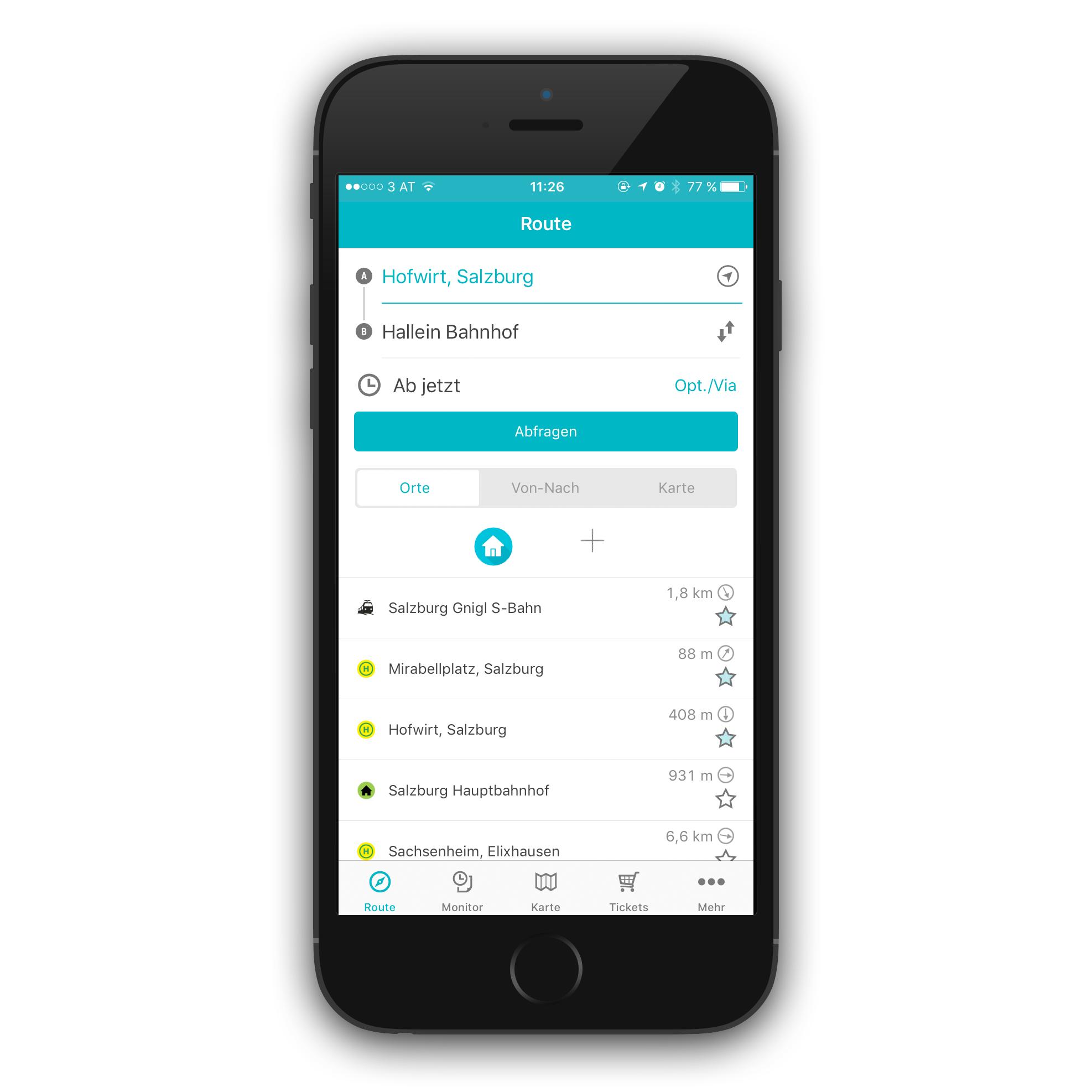 Screenshot Salzburg Verkehr App: Ansicht Startbildschirm Routenauswahl