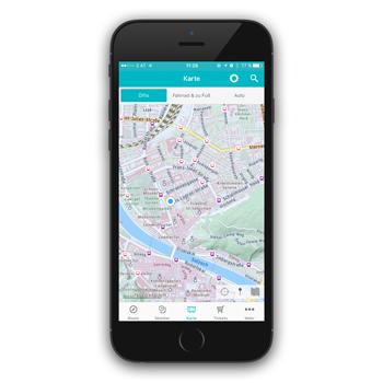 Screenshot Salzburg Verkehr App: Ansicht Landkarte
