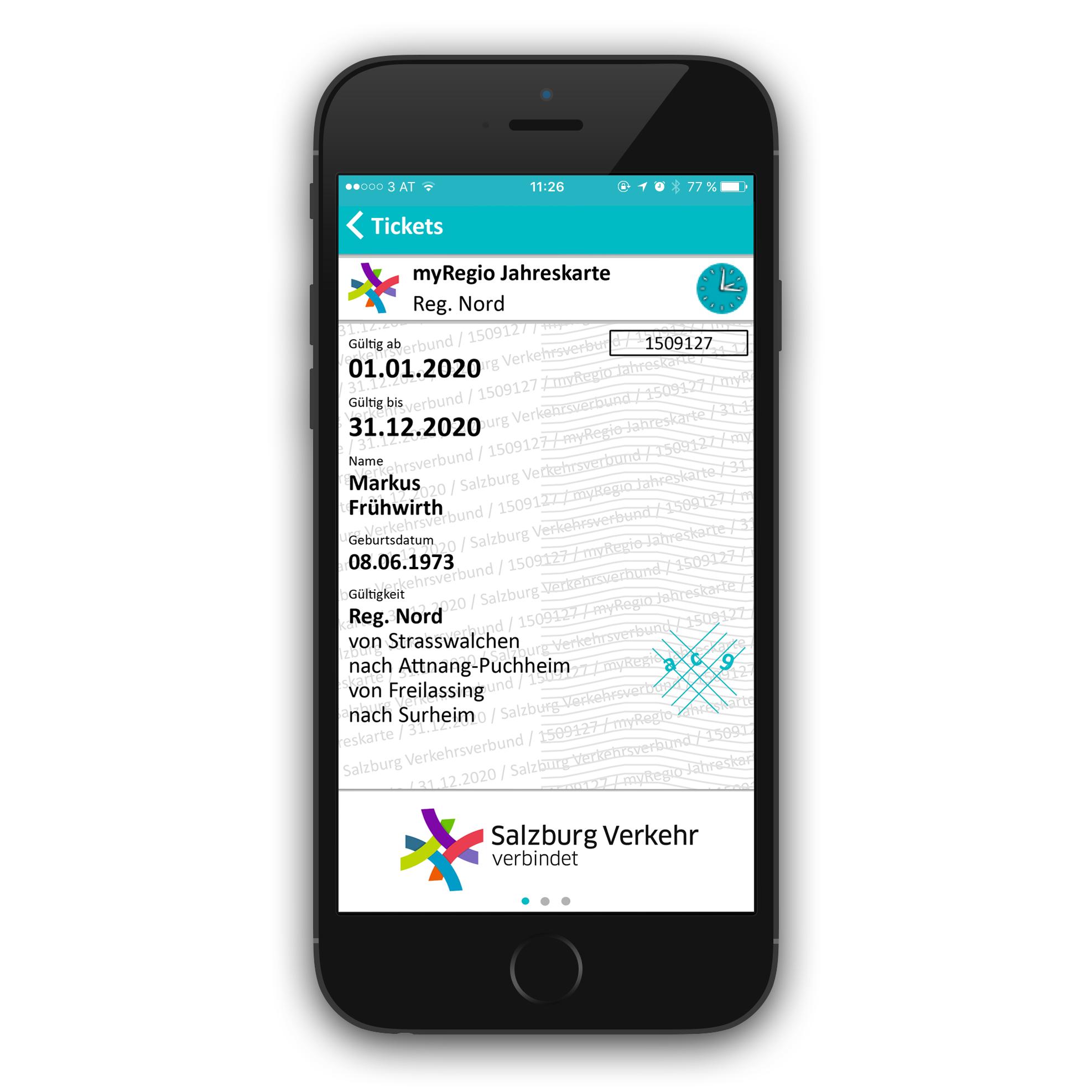 Screenshot Salzburg Verkehr App: Ansicht Ticket