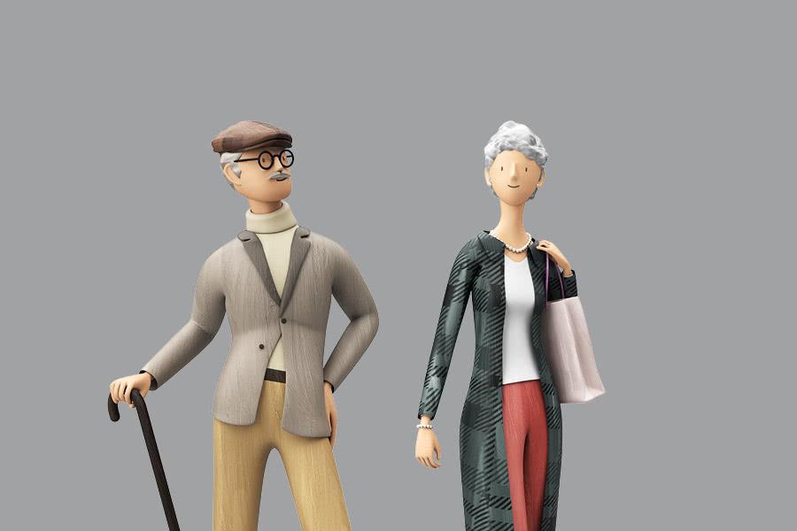 Comic Pensionistenpaar