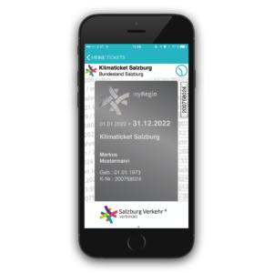 Screenshot Salzburg Verkehr App: Ansicht Jahreskarte
